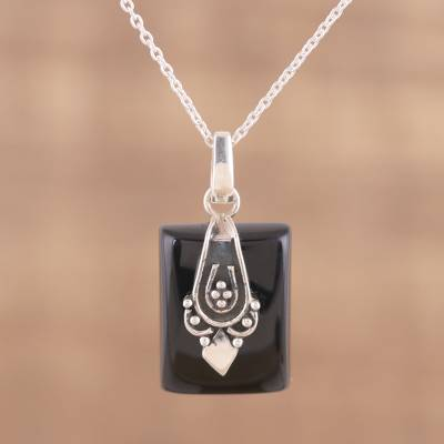 Onyx pendant necklace, 'Midnight Greeting' - Black Onyx and Sterling Silver Pendant Necklace from India
