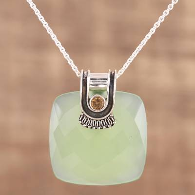 Chalcedony and citrine pendant necklace, 'Cool Desire' - Chalcedony and Citrine Pendant Necklace from India