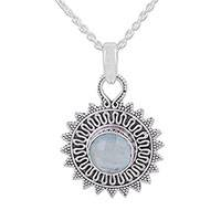 Chalcedony pendant necklace, 'Dreamy Corona' - Circular Chalcedony and Silver Pendant Necklace from India