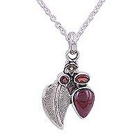 Garnet pendant necklace, 'Scarlet Admiration' - Sterling Silver and Garnet Pendant Necklace from India