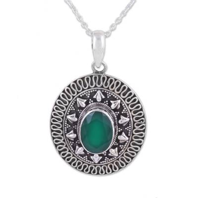 Onyx pendant necklace, 'Jaipur Mystic' - Green Onyx and Sterling Silver Pendant Necklace from India