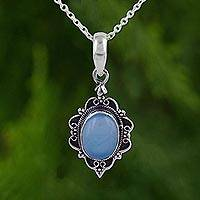 Chalcedony pendant necklace, 'Blue Damsel' - Oval Shaped Chalcedony and Sterling Silver Pendant Necklace