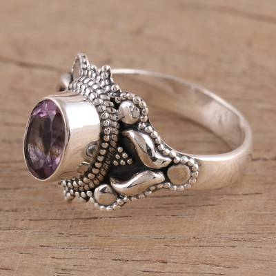 Amethyst cocktail ring, 'Ethereal Tendrils' - Oval Amethyst and Sterling Silver Cocktail Ring from India