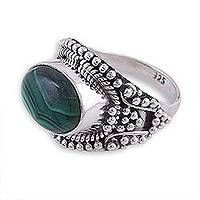 Malachite cocktail ring, 'Fanciful Green' - Malachite and Sterling Silver Cocktail Ring from India