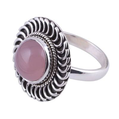 Circular Rose Quartz and Silver Cocktail Ring from India