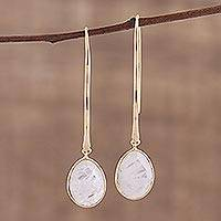 Gold plated rainbow moonstone dangle earrings, 'Rainbow's End' - Rainbow Moonstone Earrings in 18k Gold Plated Silver