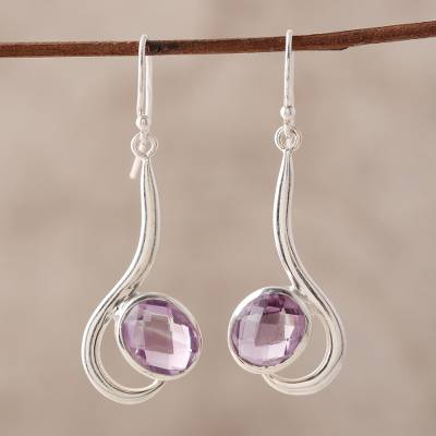 Amethyst dangle earrings, 'Cool Sabarmati' - 8 Carat Amethyst and Polished Silver Dangle Earrings
