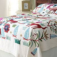 Cotton chain stitched bedspread, 'Jungle Frolic' (twin) - Animal Themed Twin Bedspread Hand Woven in India