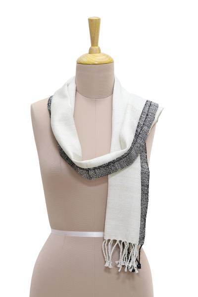 Silk scarf, 'Breezy Charm' - Hand Woven Black and White Silk Scarf from India