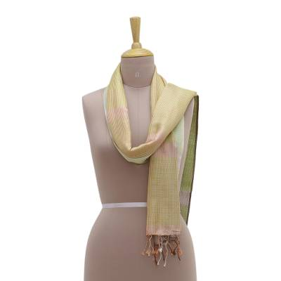Silk scarf, 'Gentle Symphony' - Handwoven Pastel Colored 100% Silk Scarf from India