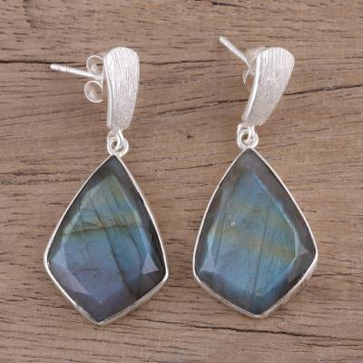 Labradorite dangle earrings, 'Dark Romance' - 34 Carat Labradorite and Sterling Silver Post Earrings