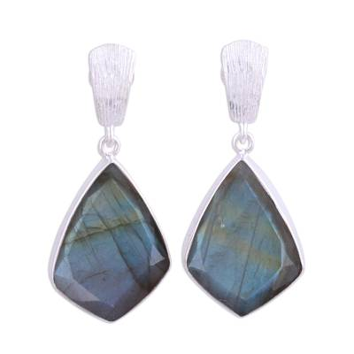 34 Carat Labradorite and Sterling Silver Post Earrings