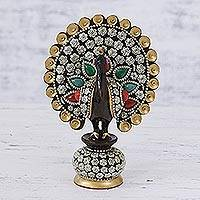 Wood figurine, 'Dancing Peacock' - Peacock Figurine with Faux Gems and Golden Accents