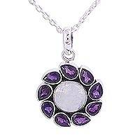 Amethyst and rainbow moonstone pendant necklace,