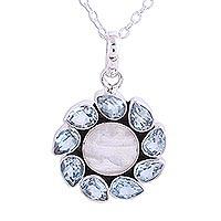 Blue topaz and rainbow moonstone pendant necklace,