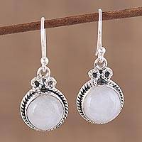 Rainbow moonstone dangle earrings, 'Iridescent Beauty' - Rainbow Moonstone and Silver Dangle Earrings from India