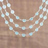 Chalcedony link necklace, 'Aqua Royalty' - Chalcedony and Sterling Silver Link Necklace from India