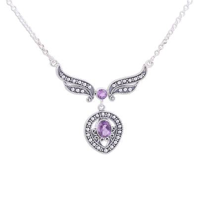 Faceted Amethyst and Silver Pendant Necklace from India