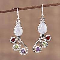 Multi-gemstone dangle earrings, 'Colorful Shower' - Multi-Gemstone and Silver Dangle Earrings from India