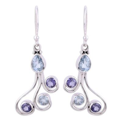 Blue Topaz and Iolite Dangle Earrings from India