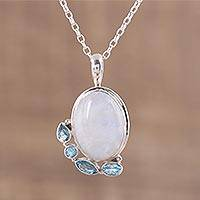 Rainbow moonstone and blue topaz pendant necklace,