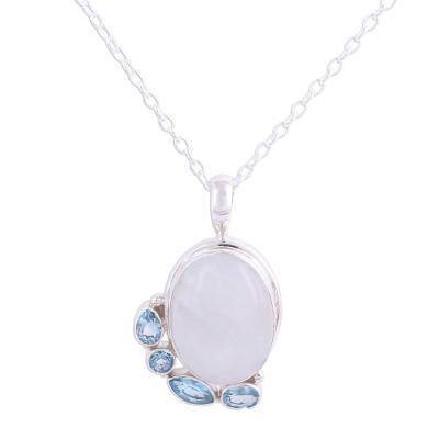 Blue Topaz and Rainbow Moonstone Pendant Necklace from India