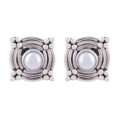 Cultured pearl button earrings, 'Graceful Gleam' - Cultured Pearl and Silver Button Earrings from India