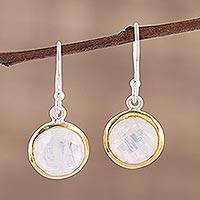 Gold accented rainbow moonstone dangle earrings,