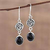 Onyx dangle earrings, 'Healing Om' - Black Onyx Om Symbol Earrings from India