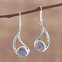 Labradorite dangle earrings, 'Nebulous Charm' - Faceted Labradorite and Silver Dangle Earrings