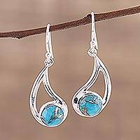 Sterling silver dangle earrings, 'Aqueous Charm' - Sterling and Blue Composite Turquoise Earrings
