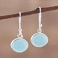 Chalcedony dangle earrings, 'Aqua Aurora' - Aqua Blue Chalcedony and Silver Dangle Earrings