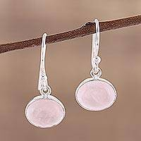 Rose quartz dangle earrings, 'Pink Aurora' - Dangle Earrings with Sterling Silver and Rose Quartz