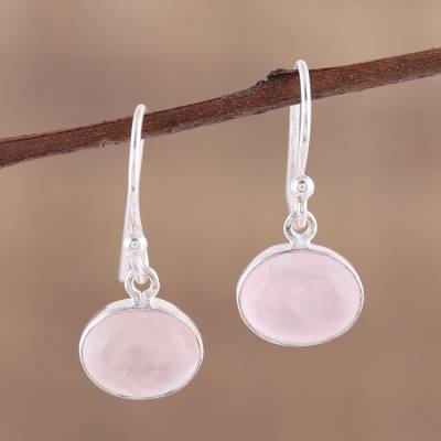 Rose quartz dangle earrings, Pink Aurora