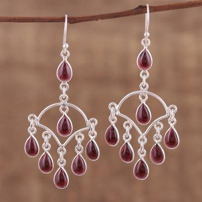 Garnet chandelier earrings, 'Majestic Raindrops' - Garnet and Sterling Silver Chandelier Earrings from India