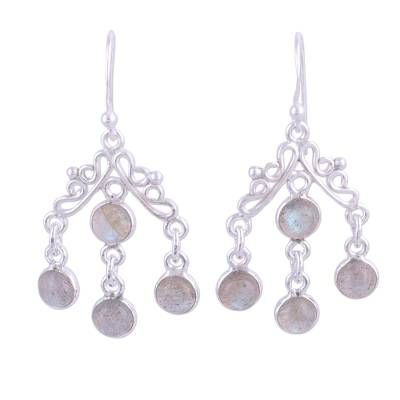 Natural Labradorite Chandelier Earrings from India