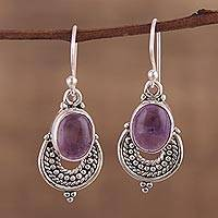 Amethyst dangle earrings, 'Jaipur Odyssey' - Sterling Silver and Amethyst Cabochon Dangle Earrings