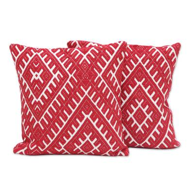 Cotton blend cushion covers, 'Eccentric Flair' (pair) - Red and Ivory Cotton Blend Cushion Covers (Pair)