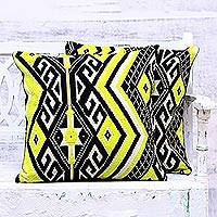 Cotton blend cushion covers, 'Lemon Bright' (pair) - Woven Geometric Diamond Motif Cushion Covers (Pair)