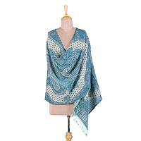 Jamawar wool shawl, 'Ocean Diver' - 100% Wool Made in India Fringed Jamawar Shawl
