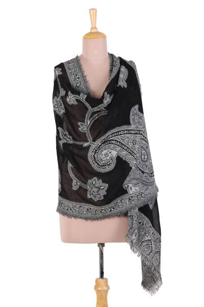 Wool jamawar shawl, 'Midnight Paisley' - Black White Jamawar Wool Paisley Floral Shawl