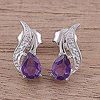 Amethyst button earrings, 'Purple Paisley' - Amethyst Rhodium Plated Sterling Silver Button Earrings