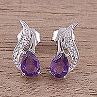 Amethyst button earrings,