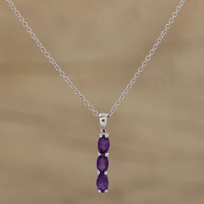 Rhodium plated amethyst pendant necklace, 'Violet Trinity' - Amethyst Rhodium Plated Sterling Silver Pendant Necklace