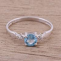 Blue and white topaz ring, 'Celestial Journey' - Rhodium Plated Ring with Blue and White Topaz Stones