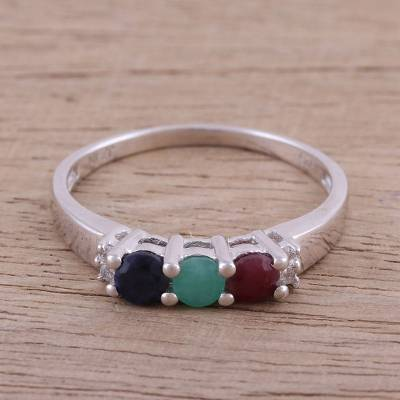 Multi-gemstone cocktail ring, 'Trinity Allure' - Multi-Gemstone Rhodium Plated Sterling Silver Cocktail Ring