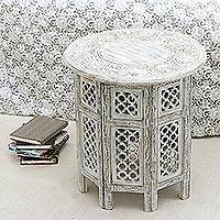 Wood accent table, 'Antique Jali' - Handcrafted Jali Motif Mango Wood Accent Table from India