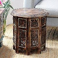 Wood accent table, 'Kashmir Valley' - Rustic Hand Carved Mango Wood Accent Table