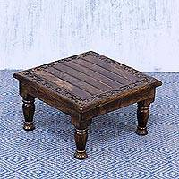 Wood foot stool, 'Nature's Essence' - Hand-Carved Wood Indian Foot Stool
