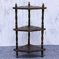 Wood etagere, 'Floral Garden' - Hand Carved Floral Wood Etagere from India
